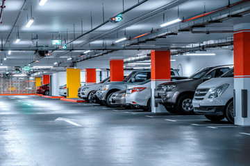 Headlamp lights with elegant and luxury design. Automotive industry and hybrid car concept. Underground parking Fotobehang