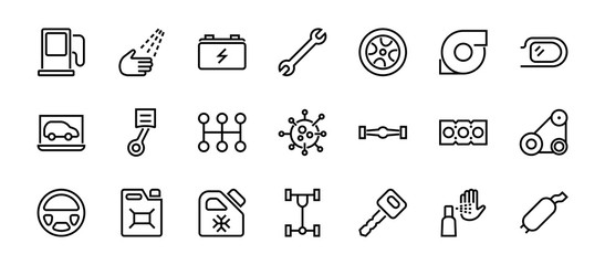 A simple set of car services related vector line icons. Contains icons such as oil, diagnostics, turbine, steering wheel, chassis, gearbox and much more. Editable move. 480x480 On a white background