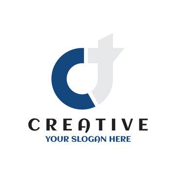creative minimal CT logo icon circle design template