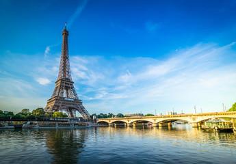 Poster Eiffeltoren eiffel tour over Seine river