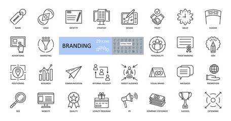 Branding icons. Set of 29 vector images with editable stroke. Includes name, logo, strategy, advertising, idea, slogan, trust, website, values, target audience, promotion, loyalty program, quality