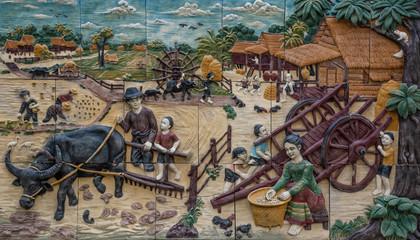 art wall Public art in Thai temples