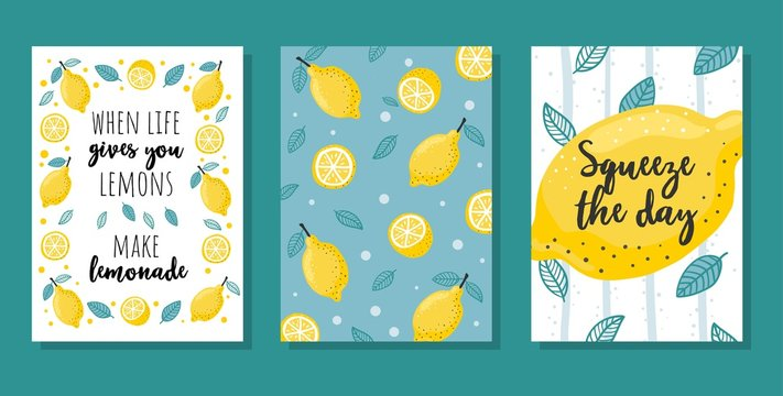 Summer cards set with lemons and lettering vector illustration. When life gives you lemons make lemonade and squeeze your day cartoon design. Inspirational quotes concept