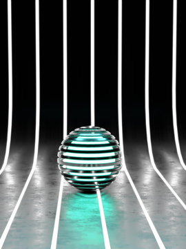 3d science fiction futuristic metallic chrome ball in glowing abstract environment
