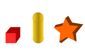Three dimensional objects.