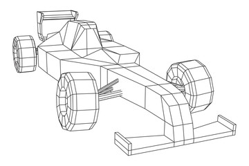 F1 car bolide formula one speed concept. Wireframe low poly mesh vector illustration.