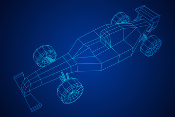 Keuken foto achterwand F1 F1 car bolide formula one speed concept. Wireframe low poly mesh vector illustration.