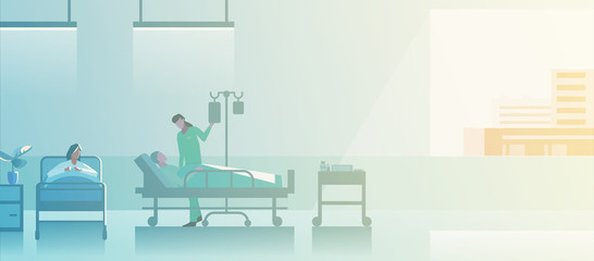 Doctor Nurse in medical ward with Patients on medical beds Flat vector illustration. Medical Clinic Hospital interior collection.