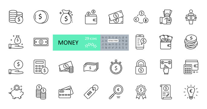 Vector money icons. Set of 29 images with editable stroke. Collection with dollars, euros, coins, bitcoin, banknotes, bag, wallet, watch, calculator, lock, pig piggy bank, bulb, magnifier, agreement.