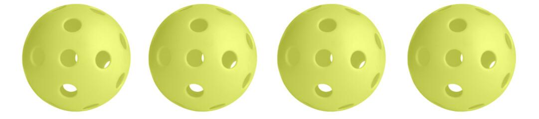 Panorama pattern yellow pickball on white background.