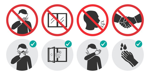 Preventive measures icons for not getting sick and not spreading virus. Set of prohibition signs
