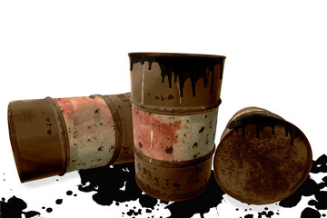 Metal rustic barrels with black liquid like oil drip on white isolated background. Crude oil market or ecology and chemical industry concept design elements