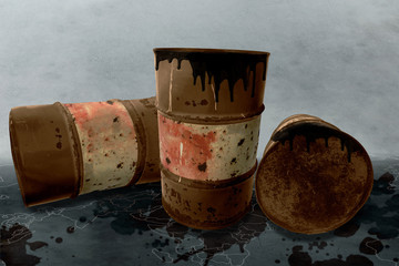 Metal rustic barrels with black liquid like oil drip on dirty World map background. Crude oil market or ecology and chemical industry concept design elements