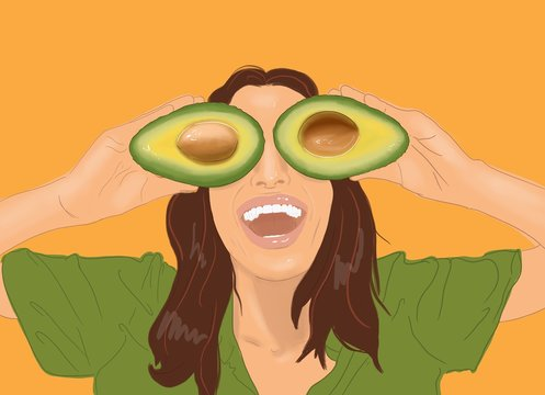 Illustration of a young smiling woman hiding eyes with sliced avocado on the yellow background. Concept of vegetarianism, healthy eating, skin care and wellbeing