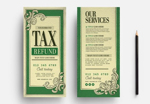 Tax Refund Service Flyer Layout with Dollar Bill Style