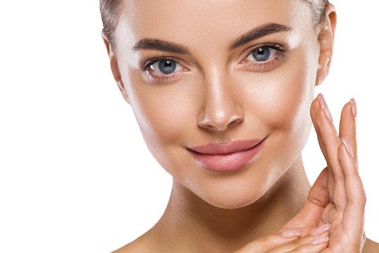Eyes lips nose woman healthy skin macro headshot hand touching face  beauty clean skin