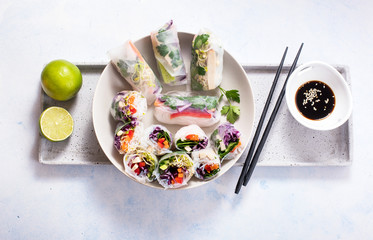 Spring rolls with vegetables, chopsticks, asian food Fototapete