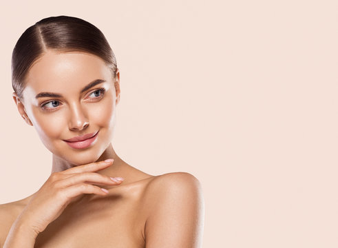 Woman lips face neck hands fingers beauty concept healthy skin