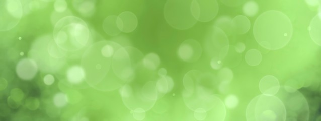 Spring background - abstract banner - green blurred bokeh lights with copy space