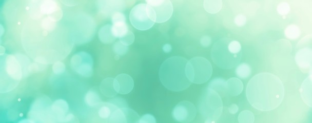 Foto auf Leinwand Reef grun Abstract background banner - blue, green, turquoise blurred bokeh lights