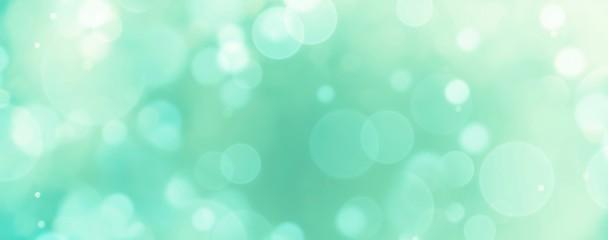 Foto auf Gartenposter Reef grun Abstract background banner - blue, green, turquoise blurred bokeh lights
