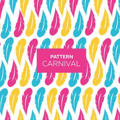 Mardi Gras Carnival, carnival pattern. Feathers on a white background. Vector illustration