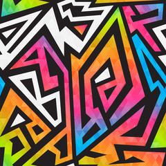 Bright graffiti geometric seamless pattern