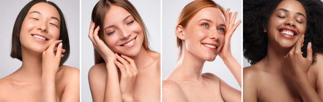 Happy diverse models touching clean skin