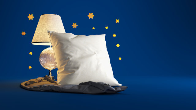 An artistic composition on the theme of sleep. White pillow, night lamp and warm blanket on a blue studio background with yellow stars