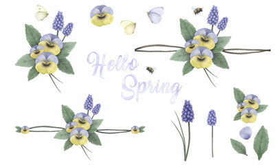 Hello spring, hand painted floral ornaments with viola's, grape hyacinth, bumblebee and butterfly, hand painted delicate and elegant flowers