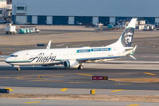 Alaska Airlines Boeing 737-800 airplane at New York JFK