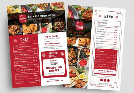 Red and White Takeout Menu Layout
