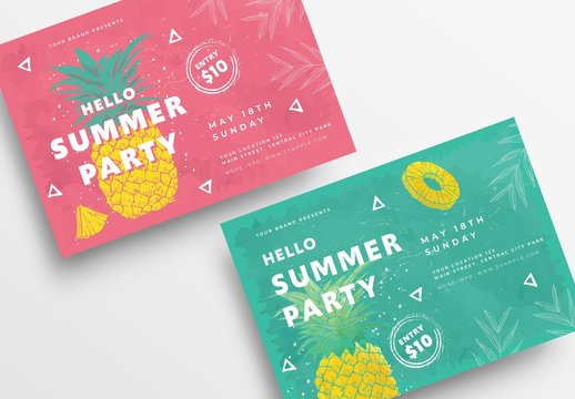 Flyer Layout with Pineapple Illustration