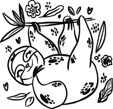 sloth doodle hand drawn coloring page. Cartoon abstract animal in scandinavian style. Wild rainforest animal. Grass branches with leaves, flowers and spots design element. Tropical jungle