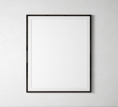 stay home Black vertical frame mock up. Frame poster on white wall. 3D illustrations.
