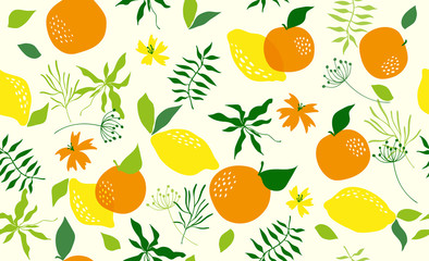 Seamless pattern with orange. Vector Fotomurales