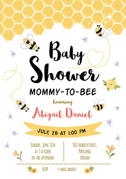 Bee Baby shower invitation template. Honoring Mommy to Bee, honey. Sweet card with honeycomb background