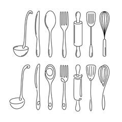 Kitchen utensil monoline style set. Vector illustration.