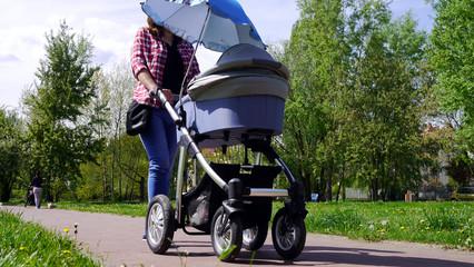 Fototapeta Mama z nowo narodzonym dzieckiem w wózku. Kobieta spaceruje w parku blisko lasu. Dziecko na świeżym powietrzu, dbanie o zdrowie dziecka. Noworodek śpi na spacerze. Urlop macierzyński. Słoneczny dzień. obraz