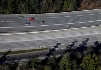 Cars travel on Interstate 405 near Bellevue during the outbreak of coronavirus disease (COVID-19), shown in this aerial photo over Bellevue