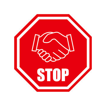 No Handshake icon. Protection against coronavirus. The spread of the virus. Danger sign. Vector illustration. No dealing. No collaboration