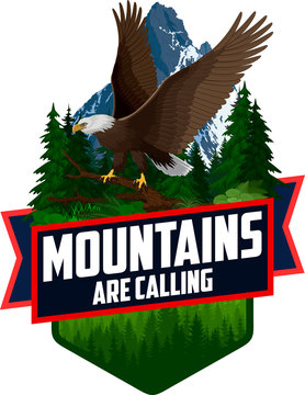 The Mountains Are Calling. vector Outdoor Adventure Inspiring Motivation Emblem logo illustration with Bald eagle