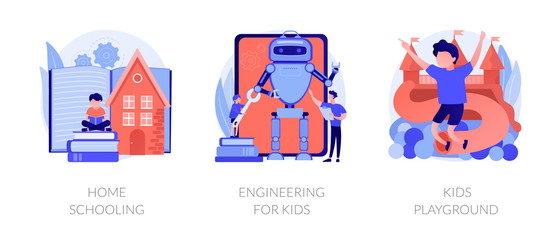 Children education and recreation. icons set. Home schooling, engineering for kids, kids playground metaphors. Entertainment and learning. Vector isolated concept metaphor illustrations.
