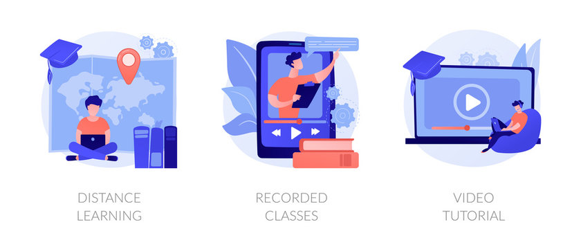 Home education, remote university graduation, online educational materials icons set. Distance learning, recorded classes, video tutorial metaphors. Vector isolated concept metaphor illustrations