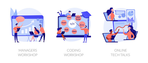 Business management coaching, programming courses, technical support icons set. Managers workshop, coding workshop, online tech talks metaphors. Vector isolated concept metaphor illustrations