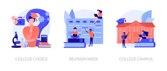 Important decision making, higher education institution choosing, student lifestyle icons set. College choice, revision week, college campus metaphors. Vector isolated concept metaphor illustrations