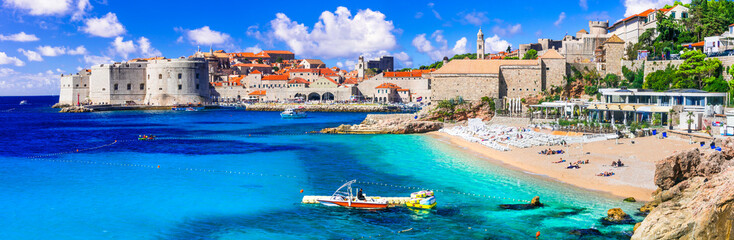 Croatia travel and landmarks - beautiful Dubrovnik town, view of old town and beach