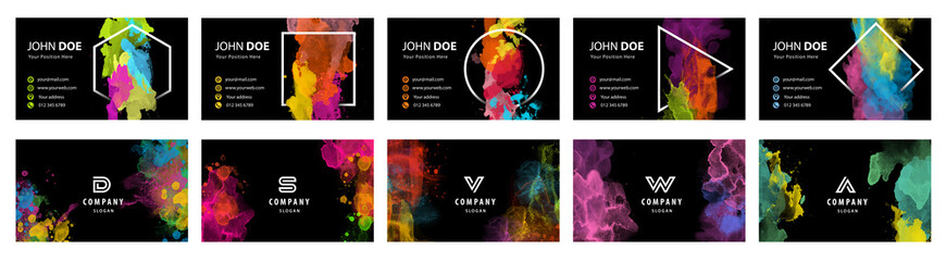 Fotobehang - Black business card template set with colorful vector watercolor background and geometric frame