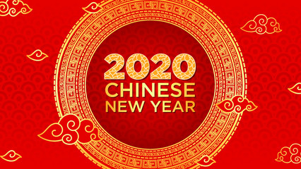 2020 Chinese New Year Rat zodiac sign. Red and gold festive background
