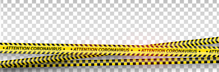 Pandemic stop. Coronavirus covid-19 2019-nCoV. Black and yellow stripes set. Warning tapes. Danger. Quarantine biohazard sign. Caution ,Warning or stop corona virus concept. Vector